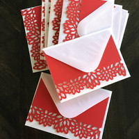 Blank Note Card. Handmade Thank You Card. Flower die cut note cards. Red thank you card. White envelope. Bridesmaids gift Appreciation gif