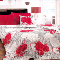 Custom Queen or Full Size Red Roses, Grey Black Leopard Print Bedding Set
