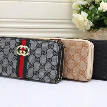DCCK Gucci' Women Purse Fashion Multicolo Stripe Double G Print Long Section Double Zip Wallet Handbag