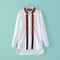 White Striped Embroidery Collar Long Sleeve Shirt