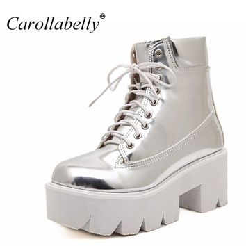 2017 Lace Up High Heels Women Punk Style Ankle Boots,Thick Bottom Platform Shoes,European Motorcycle Leather Boots 7colors