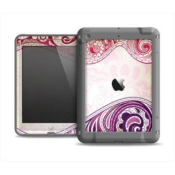The Vintage Purple Curves with Floral Design Apple iPad Mini LifeProof Fre Case Skin Set