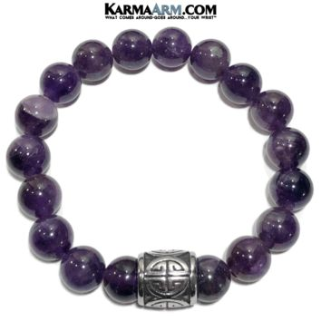 GOOD FORTUNE: Amethyst | Good Luck Symbol | Yoga Chakra Meditation Bracelet