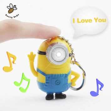 1Pcs 3D Minions Toys Cartoon Movie Despicable Me 2 Mini Minion Keychains Doll PVC Action Figure Toy Kids Toys