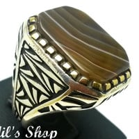 Men's Ring, Turkish Ottoman Style Jewelry, 925 Sterling Silver, Authentic Gift, Traditional, Handmade, With Banded Agate Stone, US Size 10