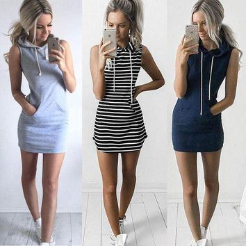 VONEJ8 Grey Hoody Dress Women sleeveless Hooded Mini Dress