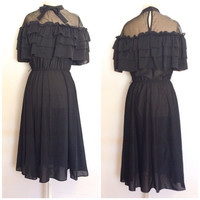 Vintage Black Steam Punk Victorian Ruffle Dress