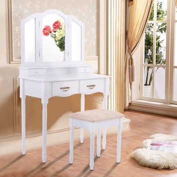 Giantex White Tri Folding Mirror Vanity Table Stool Set Modern Makeup Dressing Desk with 4 Drawers Wood Dressers HW54073WH