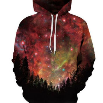 New Fashion Men Women Hoodies Red sky Print Stars Tree Space Galaxy 3D Sweatshirts Autumn Winter Thin Hooded Pullovers