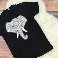 Mosaic Elephant Unisex T Shirt • Screen Printed • Never Forget • Elephants • Trunk • Tusk • Silhouette