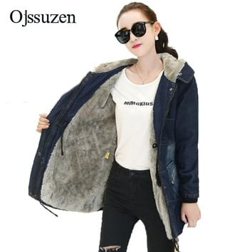 Winter Warm Cothes Women With Fur Hooded Jackets Denim Lambswool Winter Women's Thick Coat Zipper Slim Jackets Female Coat Parka