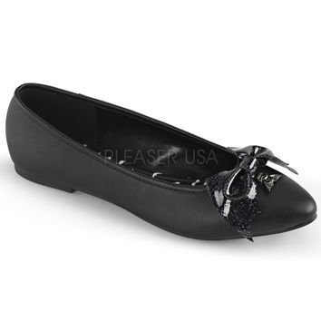 Demonia Black Vegan Leather Bat Wing Flats
