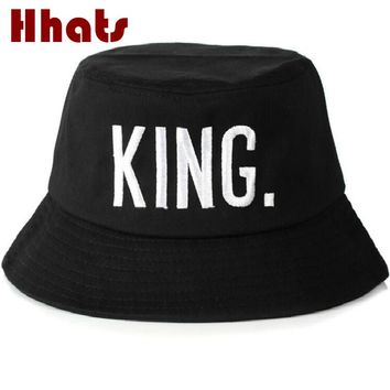 Which in shower couple KING bucket hat black men cotton flat embroidery Queen fishing hat women summer sun hat bob beach panama