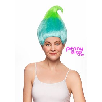 Trolllz- Sky Blue/ Lime Green Full Wig