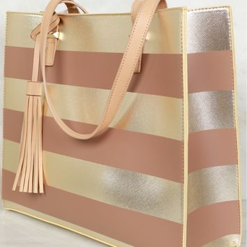 Striped Shoulder Bag Gold