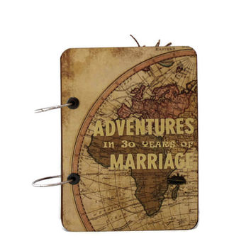 Anniversary Theme Travel Journal, Personalized Adventure Journal Book, Vintage Style Travel Photo Album, Anniversary Gift, Gift for Couples