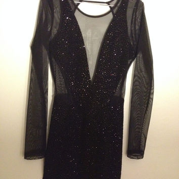 Backless Black Sparkly Mini Dress With Mesh Sleeves And Front Panel (Mystic)