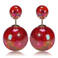 Mise en Gum Tee Style Tribal Earrings  - Galaxy Red