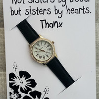 Sisters by Hearts Woman Black Band Wrist Girl Rhinestones Fashion Gift Holidays Watch