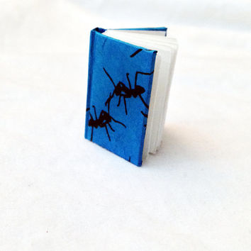 Miniature Book, Handbound Journal, Ant Minbook, Blank Book, Insect Paper, Bright Blue, Book Art, Mini Book