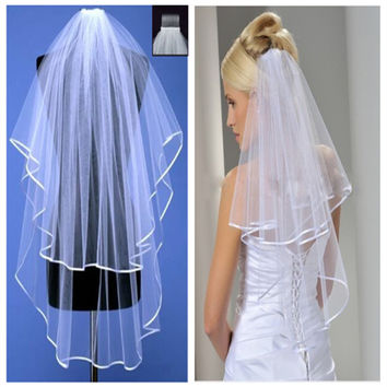 2016 In Stock Two Layers White / Ivory Bridal Veil with Comb Ribbon Edge Wedding Dress Accessaries Cheap