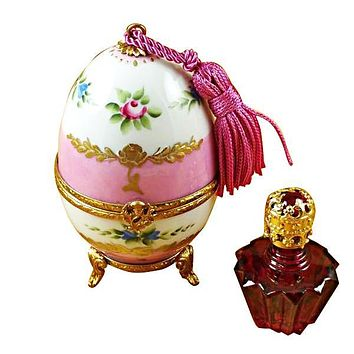 Pink Egg With Bottle Limoges Boxes
