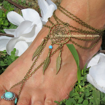 Gypsy Foot Chain Anklet, Barefoot Sandles, Dream Catcher Sandals, Ankle Bracelet, Turquoise, Beaded Anklets, Tribal Jewelry, Ethnic Unity