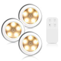 Morpilot 3 Pcs Puck light Rechargeable Remote Control Dimmable 5 LED Cabinet Light Wireless Spot Light Stick-On Anywhere Tap Lights for Cabinets Closets Attics Garages Car Sheds Storage Room Silver