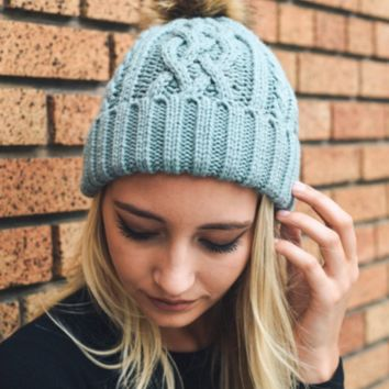 Hip Light Blue Cable Knit Fur Pom Beanie