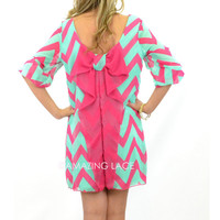 Suzy Bell Fuschia & Mint Chevron Bow Dress