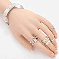 6Pcs-hammered Metal Cuff Bracelet & Rings