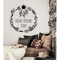 Vinyl Wall Decal Inspire Quote Ethnic Style Room Feathers Stickers Unique Gift (ig4235)