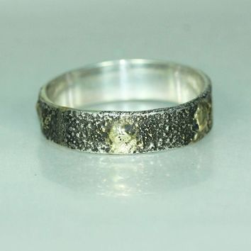 Silver Gold Mans Womans Unique Organic Alternative Wedding Band Ring