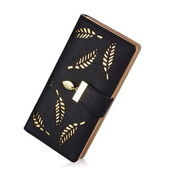 Women's Long Leaf Wallet Leather Card Holder Purse Zipper Buckle Elegant Clutch Wallet Handbag