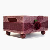 Handmade large decorative storage caddy burgundy tapestry