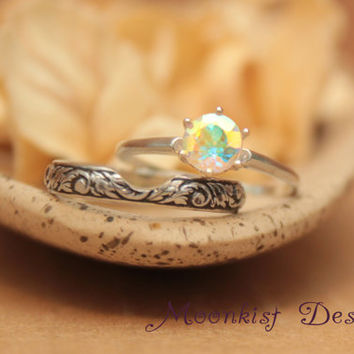 Vintage-Style Tiffany Solitaire Opalescent Topaz Floral Wedding Band Set in Sterling - Engagement Ring Set with Tendril and Vine Fitted Band