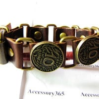 Adjustable Brown Leather with 10 Cents Rivet by braceletcool