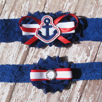 Nautical Wedding Garter Set | Red, White, and Blue Anchor Wedding Garters | Bridal Garter and Toss Garter