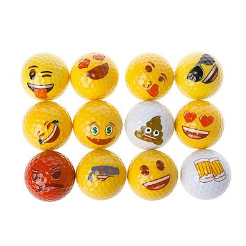 12Pcs Emoji Golf Balls Set Funny Gift Professional Practice Toy Course Play