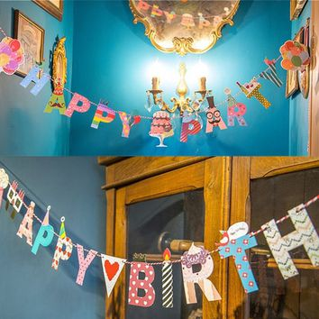 Happy Birthday Party Cute Garland Design Birthday Party Bunting Banners