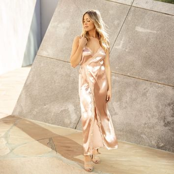 Mademoiselle Pink Satin Maxi Dress