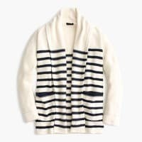 Long open cardigan sweater in stripe