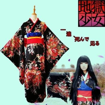 S-3XL Hell Girl Jigoku Shoujo Ai Enma Mitsuganae Floral Kimono Cosplay Costume Set Japanese Anime Dress