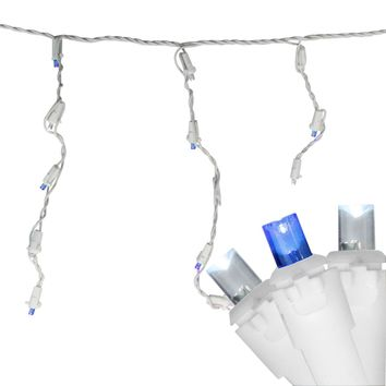Set of 100 Blue and Pure White LED Wide Angle Icicle Christmas Lights White Wire