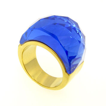Europea And America Style Stainless Steel Ring  Brand Luxury Glass Stone Rings Jewelry For Women Girl