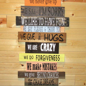Family Rules Sign • In our House Rules sign • Distressed wood Family Sign• big wood family sign