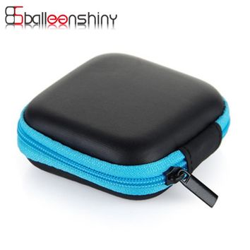 BalleenShiny Mini Square Headphone Wire Case Container Zipper Data Cable SD Card Storage Bag Holder Portable Earbuds Organizer