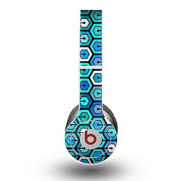The Blue and Green Vibrant Hexagons Skin for the Beats by Dre Original Solo-Solo HD Headphones