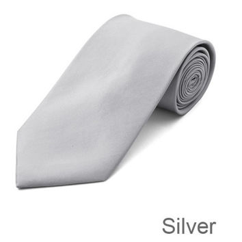 Silver Tie and Hanky Set