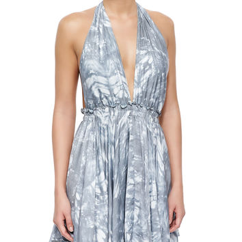 Feather-Dyed Deep Halter Dress, Size: